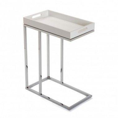 Table d'appoint métal argent et plateau bois blanc