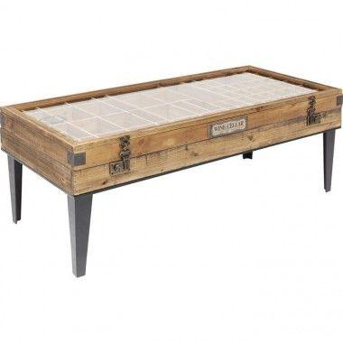 Table basse vitrine bois et métal COLLECTOR