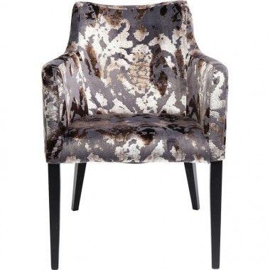 Chaise avec accoudoirs effet velours marron MODE