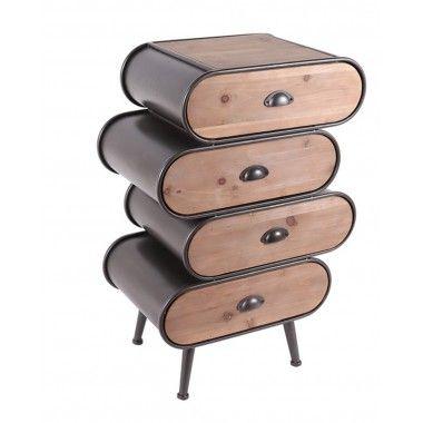 Commode décalé bois et métal 4 tiroirs MASTER