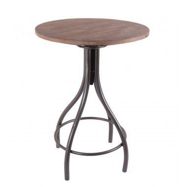 Table de bar ronde bois et métal MASTER