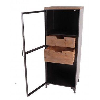 Meuble haut vitrine bois et métal 2 tiroirs MASTER