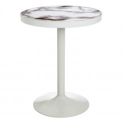 Table d'appoint ronde marbre or et blanc ARLEKINE