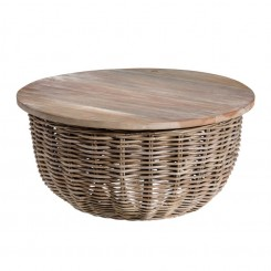 Table basse coffre en rotin naturel RATTA