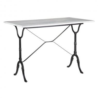 Table d'appoint rectangulaire marbre blanc et pied noir 100cm AXEL