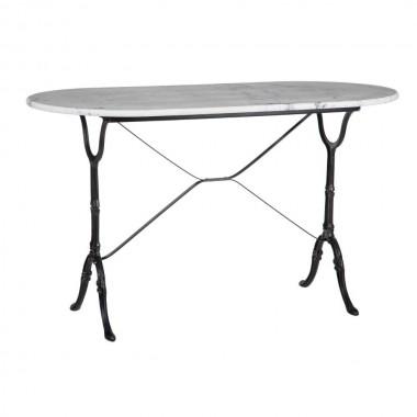 Table d'appoint ovale marbre blanc et pied noir 120cm AXEL