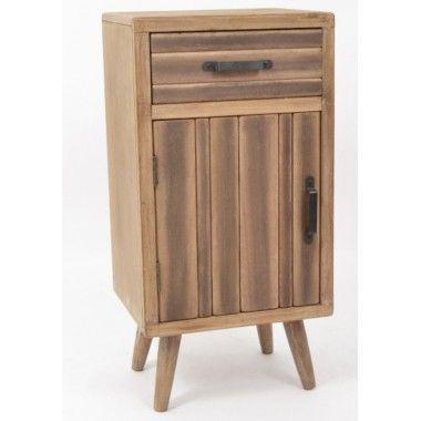 Table de chevet bois brut 1 tiroir et 1 porte ODEON