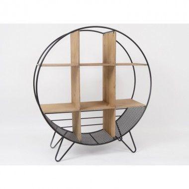 Etagère ronde bois et métal RONDO