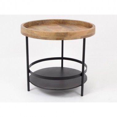 Table d'appoint 50 x 50 cm bois et métal noir ABISKO