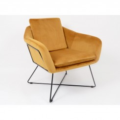 Fauteuil velours ocre MARTIN