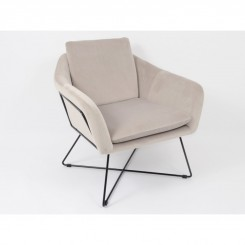 Fauteuil velours taupe clair MARTIN