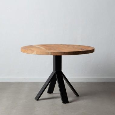 Table à manger bois naturel et métal noir 110x110x76 cm DENZZO