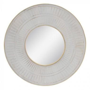 Miroir rond bois crème motifs ORO