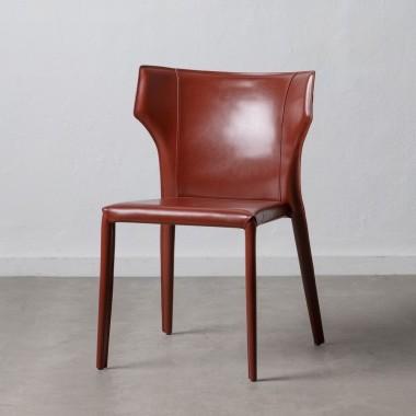 Chaise peau de cuir marron DENZZO
