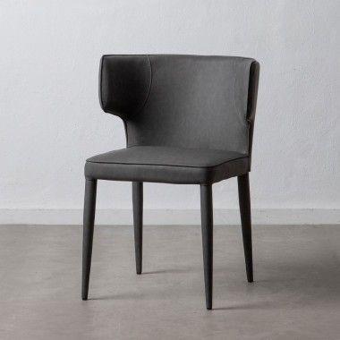 Chaise peau synthétique gris DENZZO
