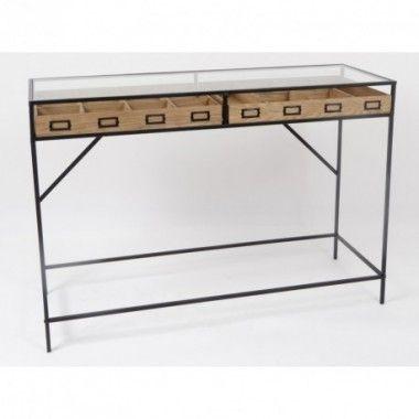 Console rectangle métal bois MAXIME