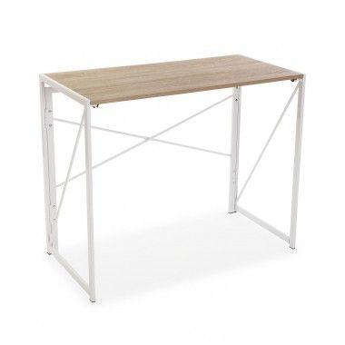 Table de bureau pliable bois et métal blanc TOKYO