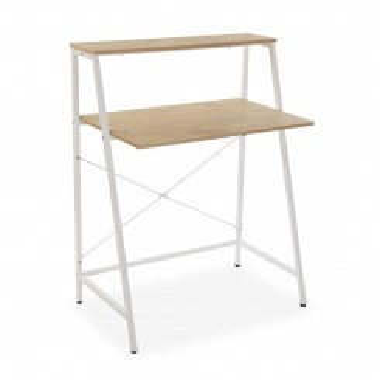 Table d'ordinateur de bureau bois et métal blanc TOKYO