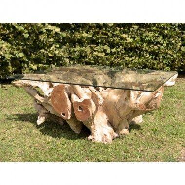 Table basse rectangulaire racine bois flotté 100 cm NATURE