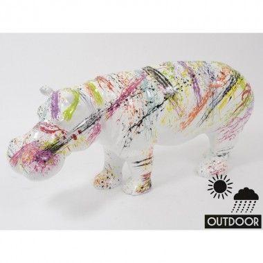 Statue Hippopotame blanc laquée multicolores 73cm SPLASH