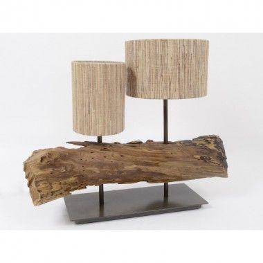 Lampe à poser tronc d'arbre 2 abat-jour NATURE
