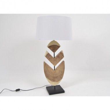 Lampe feuille en bois et métal 91 cm NATURE
