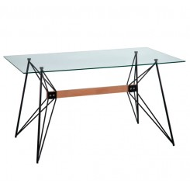 Table à manger verre trempé style rétro métal CRYSTAL