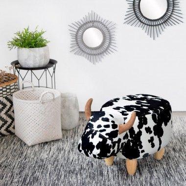 Tabouret vache blanc noir tissu LA VACHE