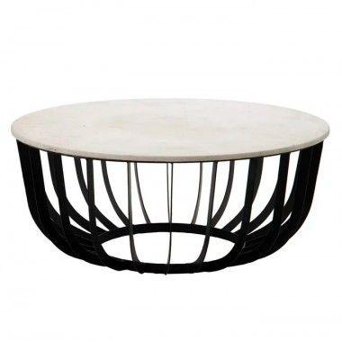 Table basse marbre blanc/ cage métal 90 cm FERRO