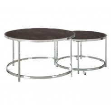 Set de 2 tables basses rondes verre trempé et acier NORA