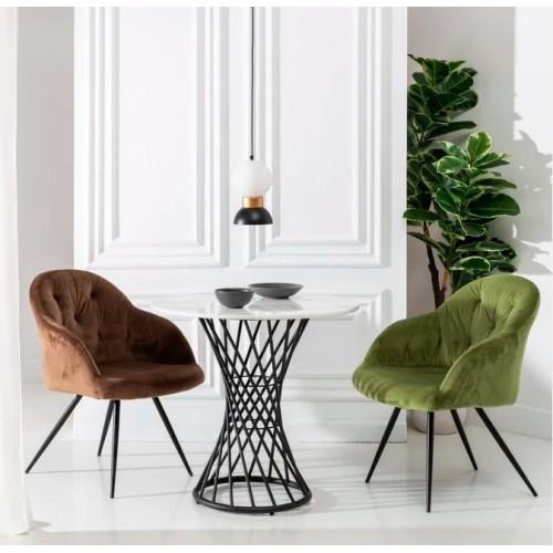 Table d'appoint design aspect marbre/métal noir 75,50 cm CRYSTAL