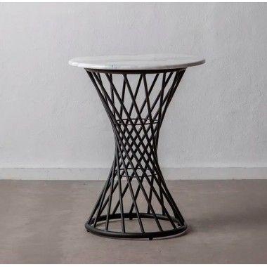 Table d'appoint design aspect marbre/métal noir 60 cm CRYSTAL