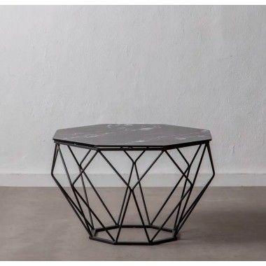 Table d'appoint verre aspect marbre noir/ métal LOSANGE