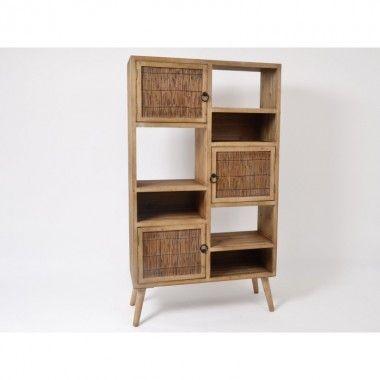 Meuble étagère bois naturel 134 cm YAGON