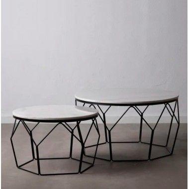 Set de 2 tables basses marbre blanc/ métal HOCTO
