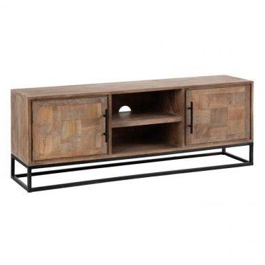 Meuble TV bois naturel metal 150 cm BORABORA
