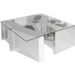 Table basse verre trempé argent 115cm LOVE