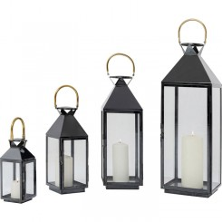 Set de 4 lanternes black gold GIARDINO