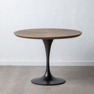 Table à manger ronde bois métal noir TAGGE