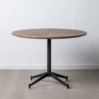 Table à manger ronde bois de chêne métal noir RUSTICO