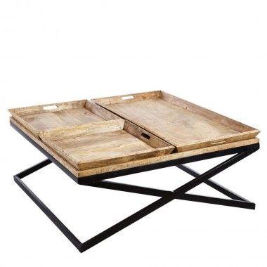 Table basse industriel avec plateaux 120 cm ISLAND