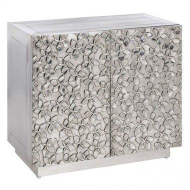 Commode motifs fleurs métal argenté / bois SPACES