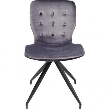 Chaise tissu velours gris foncé BUTTERFLY