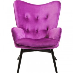 Fauteuil tissu velours violet VICKY