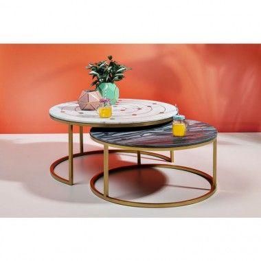Set de 2 tables basses rondes marbre acier doré MYSTIC