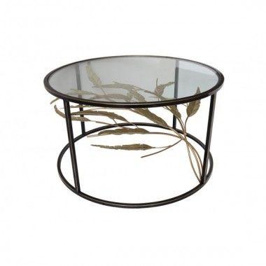 Table basse ronde feuillage mouvement 3D noir or METO