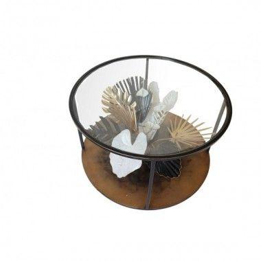 Table basse ronde bouquet tropical 3D noir or blanc ILE