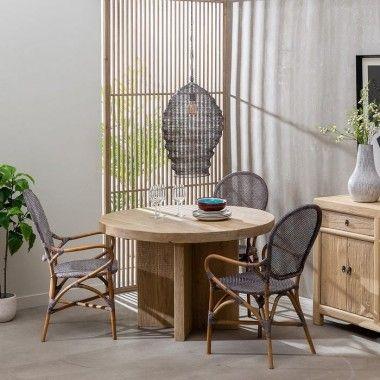 Table à manger ronde pied croisé bois d'orme 120cm BRUTA