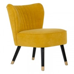 Fauteuil tissu velours moutarde NINY