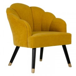 Fauteuil tissu velours coquillage moutarde NINY